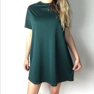 ZARA oversized forest green shirt dress
